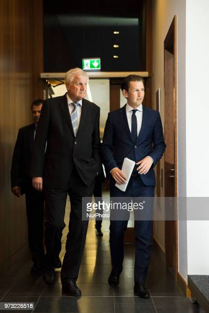 German Interior Minister Horst Seehofer and Austrian Chancellor Sebastian Kurz arrive to a press conference at the Interior Ministry in Berlin...