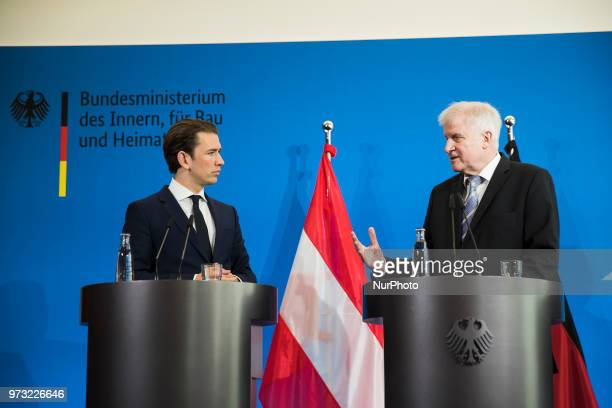 German Interior Minister Horst Seehofer and Austrian Chancellor Sebastian Kurz are pictured during a press conference at the Interior Ministry in...