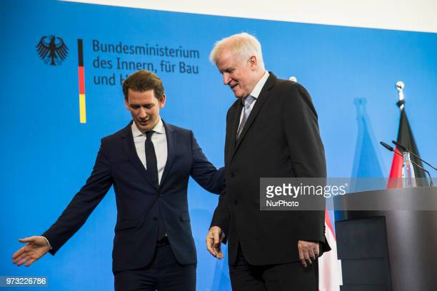 German Interior Minister Horst Seehofer and Austrian Chancellor Sebastian Kurz leave a press conference at the Interior Ministry in Berlin Germany on...