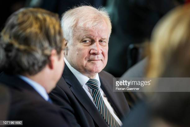 German Interior Minister Horst Seehofer and German Transport Minister Andreas Scheuer are pictured before the weekly cabinet meeting at the...