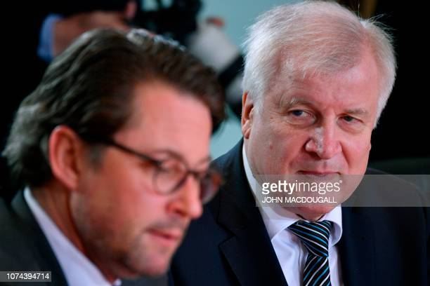 German Interior Minister Horst Seehofer and German Transport Minister Andreas Scheuer attend the weekly cabinet meeting on December 19 2018 at the...