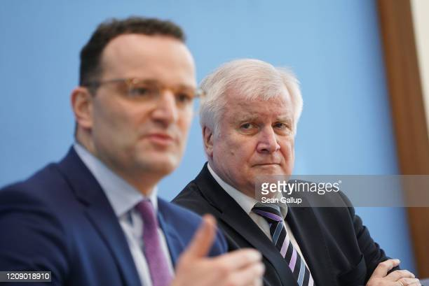 German Interior Minister Horst Seehofer and Health Minister Jens Spahn speak to the media about the spread of the coronavirus in Germany on February...