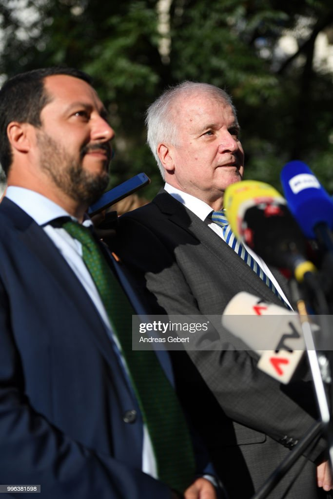 German Interior Minister Horst Seehofer (R) and Italian Interior Minister Matteo Salvini speak during a statement after a bilateral meeting prior to the European Union member states' interior and justice ministers conference on July 11, 2018 in Innsbruck, Austria. The meeting is taking place among mounting efforts by governments across Europe to restrict the entry of migrants and refugees.