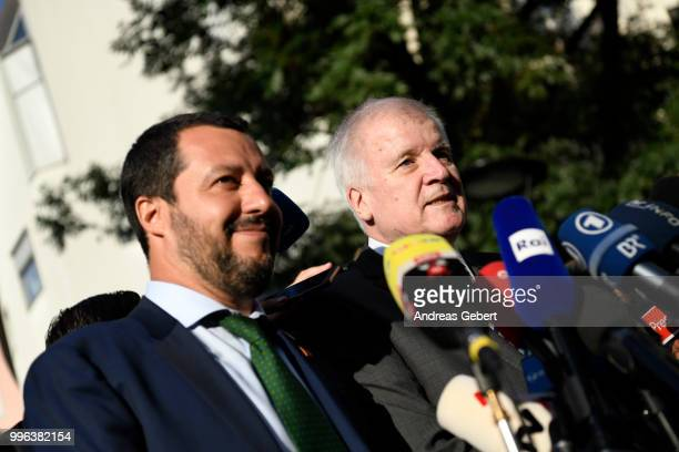 German Interior Minister Horst Seehofer and Italian Interior Minister Matteo Salvini speak during a statement after a bilateral meeting prior to the...