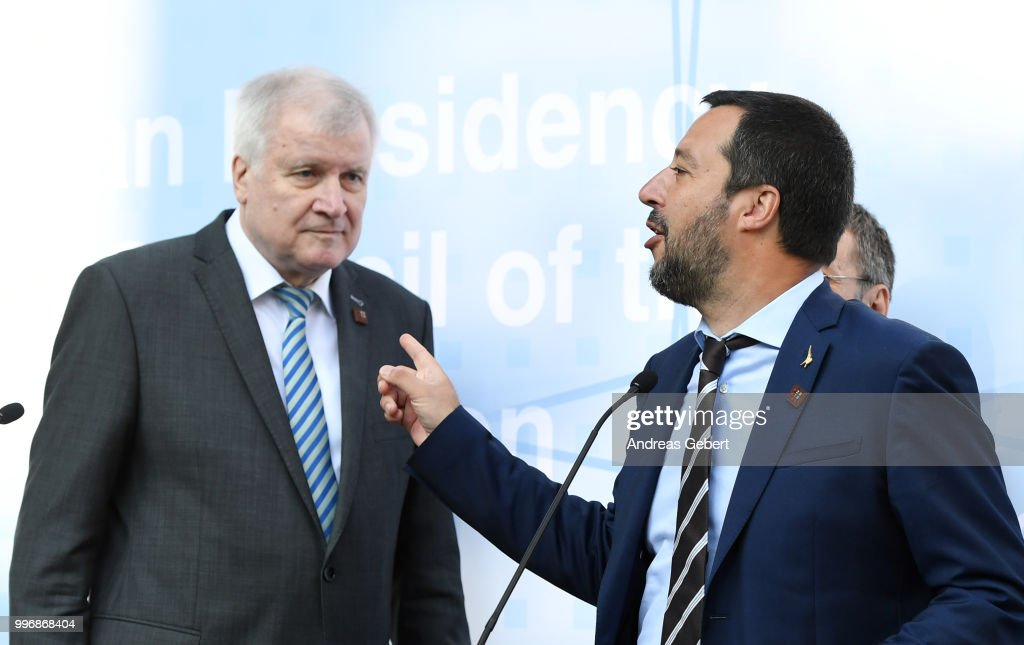 German Interior Minister Horst Seehofer (L) and Italian Interior Minister Matteo Salvini leave a press conference during the European Union member states' interior and justice ministers conference on July 12, 2018 in Innsbruck, Austria. The meeting is taking place among mounting efforts by governments across Europe to restrict the entry of migrants and refugees.