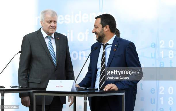 German Interior Minister Horst Seehofer and Italian Interior Minister Matteo Salvini leave a press conference during the European Union member...