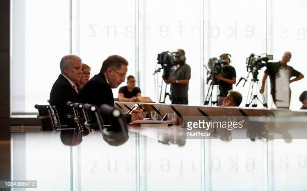 German Interior Minister Horst Seehofer and President of the Federal Office for the Protection of the Constitution HansGeorg Maassen present the...