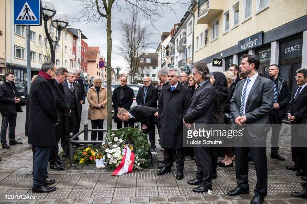 German Interior Minister Horst Seehofer and Prime Minister of Hesse Volker Bouffier visit the scene outside the Midnight hookah bar, one of two bars...