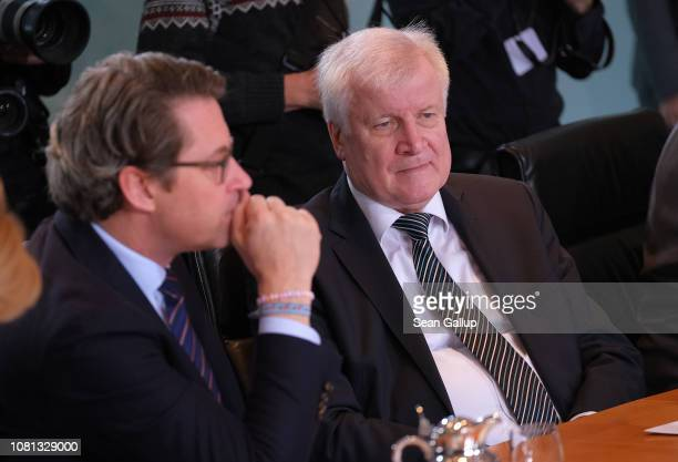 German Interior Minister Horst Seehofer and Transport and Digital Infrastructure Minister Andreas Scheuer arrive for the weekly government cabinet...