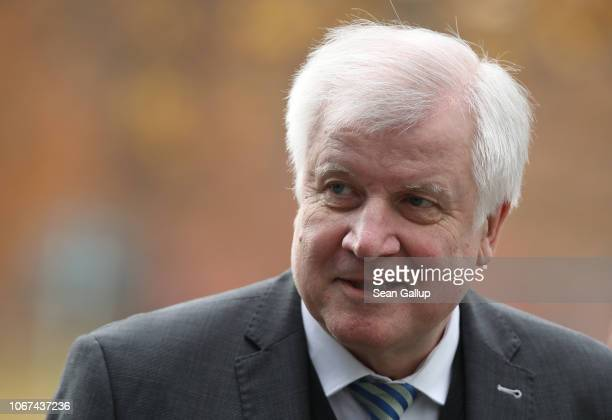 German Interior Minister Horst Seehofer arrives for a retreat of the German government cabinet at the Hasso Plattner Institute on November 14 2018 in...