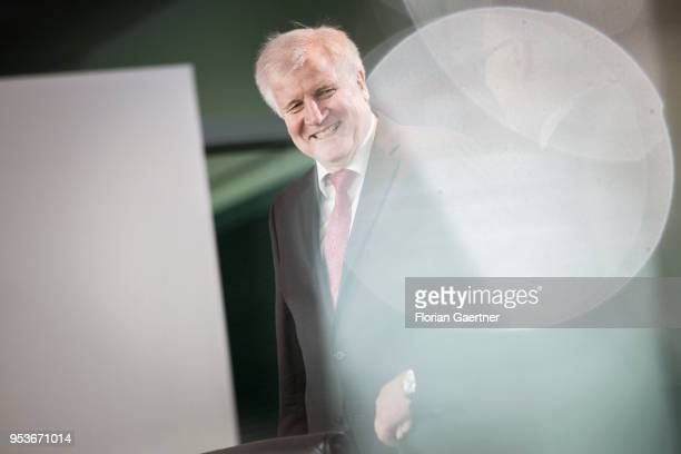 German Interior Minister Horst Seehofer arrives for the weekly cabinet meeting at the chancellery on May 02 2018 in Berlin Germany