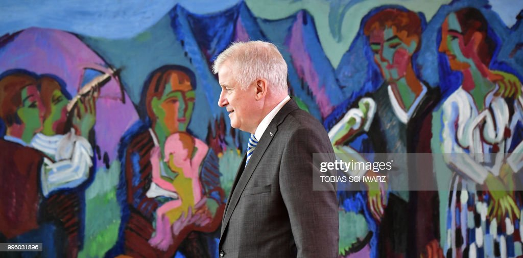 German Interior Minister Horst Seehofer arrives for the weekly cabinet meeting in Berlin on July 11, 2018.