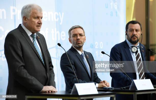 German Interior Minister Horst Seehofer Austrian Interior Minister Herbert Kickl and Italian Interior Minister Matteo Salvini speak at a press...