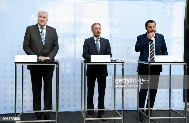 German Interior Minister Horst Seehofer Austrian Interior Minister Herbert Kickl and Italian Interior Minister Matteo Salvini speak at a press...