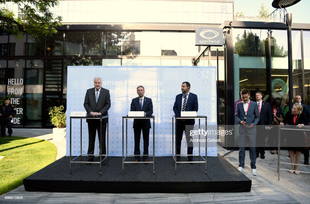 German Interior Minister Horst Seehofer, Austrian Interior Minister Herbert Kickl and Italian Interior Minister Matteo Salvini speak at a press conference during the European Union member states' interior and justice ministers conference on July 12, 2018 in Innsbruck, Austria. The meeting is taking place among mounting efforts by governments across Europe to restrict the entry of migrants and refugees.