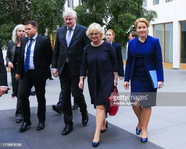 German Interior Minister Horst Seehofer German Justice Minister Christine Lambrecht and German Family Minister Franziska Giffey hold a press...