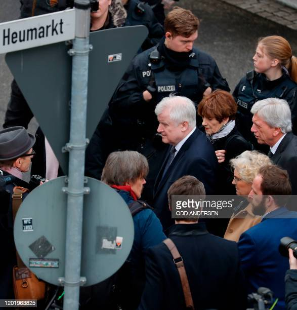 German Interior Minister Horst Seehofer German Justice Minister Christine Lambrecht and Hesse's State Premier Volker Bouffier arrive in the area of...