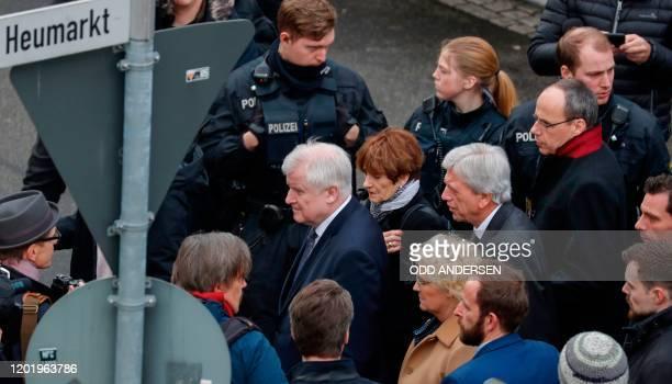 German Interior Minister Horst Seehofer German Justice Minister Christine Lambrecht Hesse's State Premier Volker Bouffier and Hesse state Interior...