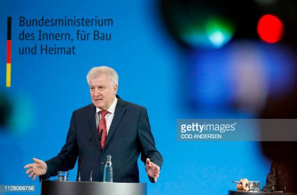 German Interior Minister Horst Seehofer gives a press statement on February 28, 2019 in Berlin, to comment on criminal investigations in the case of...