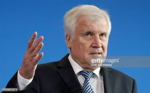 German Interior Minister Horst Seehofer gives a statement on September 19, 2018 in Berlin. - He commented on the decision of Angela Merkel's...