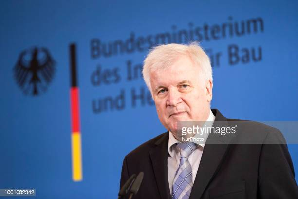 German Interior Minister Horst Seehofer holds a press conference at the Interior Ministry in Berlin Germany on July 18 2018 The Government voted in...