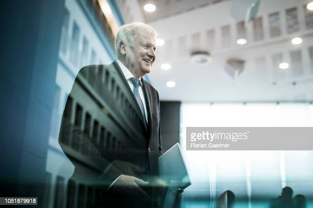 German Interior Minister Horst Seehofer is pictured after a press conference about information security in Germany on October 11 2018 in Berlin...