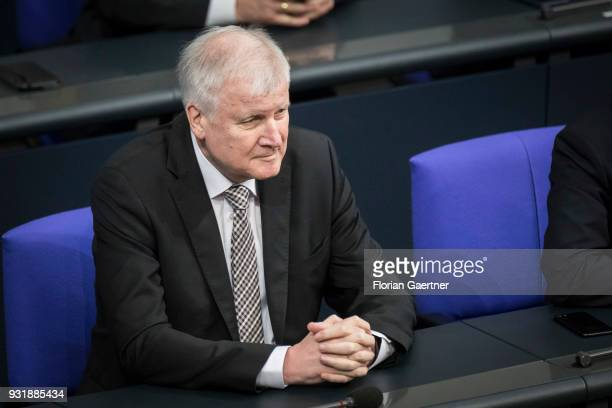 German Interior Minister Horst Seehofer is pictured before the swearingin ceremony of the new federal government on March 14 2018 in Berlin Germany...