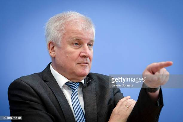 German Interior Minister Horst Seehofer is pictured during a press conference at the Federal Press Office on October 02 2018 in Berlin Germany