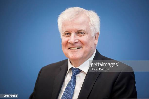 German Interior Minister Horst Seehofer is pictured during a press conference about information security in Germany on October 11 2018 in Berlin...