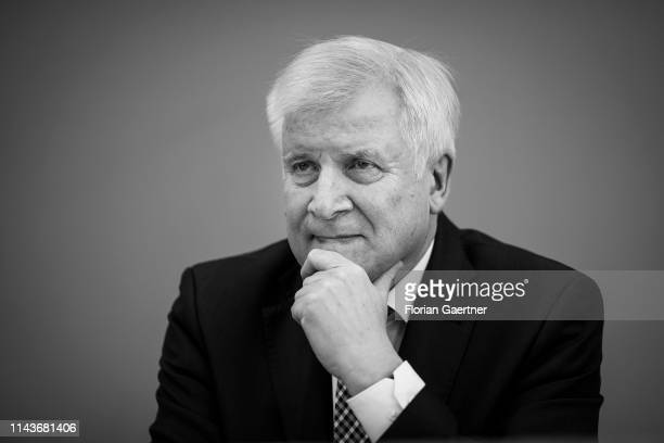 German Interior Minister Horst Seehofer is pictured during a press conference about politically motivated criminality in Germany on May 14 2019 in...