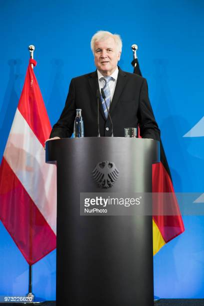 German Interior Minister Horst Seehofer is pictured during a press conference at the Interior Ministry in Berlin Germany on June 13 2018