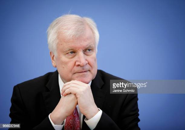 German Interior Minister Horst Seehofer is pictured during the presentation of the German Criminal Statistics and of the politically motivated crimes...