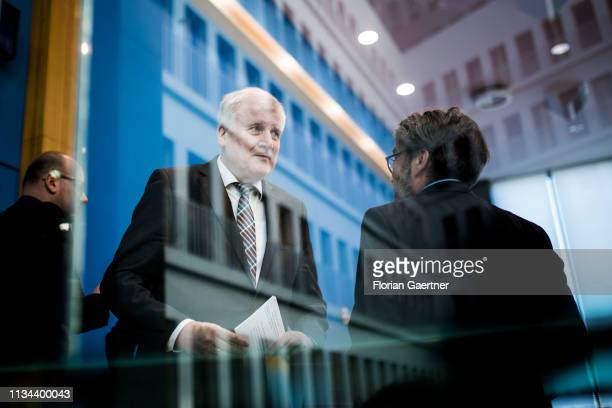 German Interior Minister Horst Seehofer is pictured during the press conference about the police crime statistics 2018 on April 02 2019 in Berlin...
