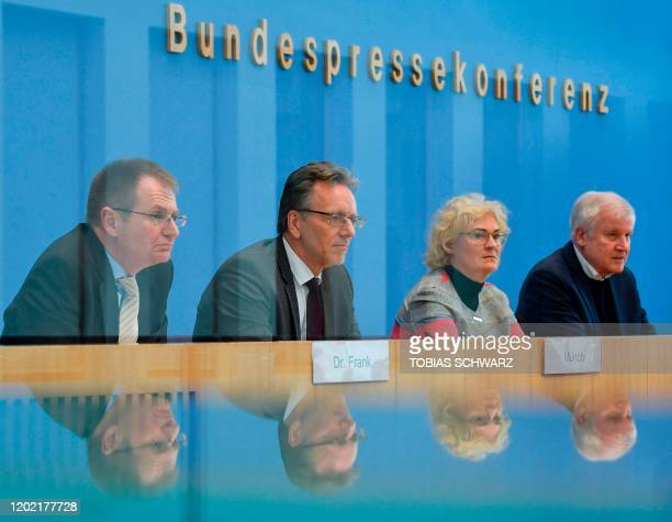 German Interior minister Horst Seehofer Justice Minister Christine Lambrecht the President of the Federal Criminal Office Holger Muench and German...