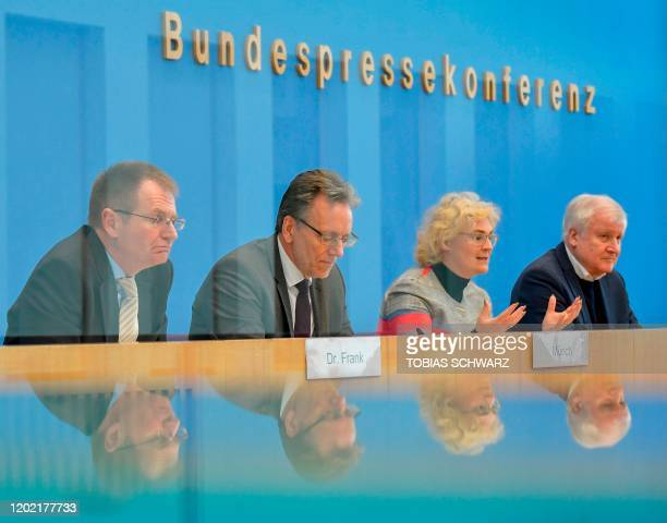 German Interior minister Horst Seehofer, Justice Minister Christine Lambrecht, the President of the Federal Criminal Office Holger Muench, and German...