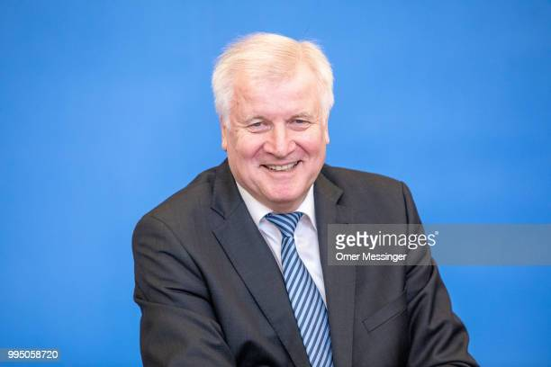 """German Interior Minister Horst Seehofer presents his """"master plan"""" concerning migration policy on July 10, 2018 in Berlin, Germany. The plan includes..."""