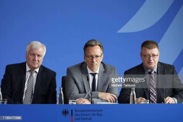 German Interior Minister Horst Seehofer, President of the Federal Office for the Protection of the Constitution Thomas Haldenwang and Federal Crime...