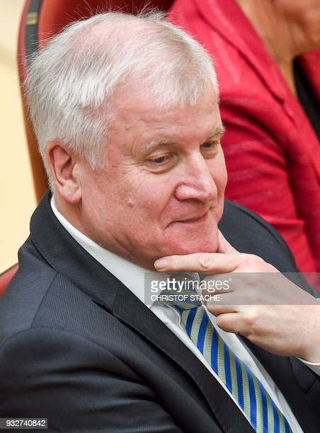 German Interior minister Horst Seehofer sits in Bavaria's State parliament where his successor as Bavarian State Premier is to be elected on March...