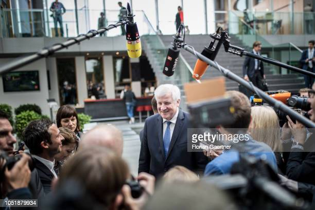 German Interior Minister Horst Seehofer speaks to the media after a press conference about information security in Germany on October 11 2018 in...