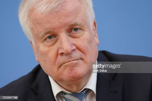 German Interior Minister Horst Seehofer speaks to the media to announce new policies regarding Germany's borders during the coronavirus crisis on May...