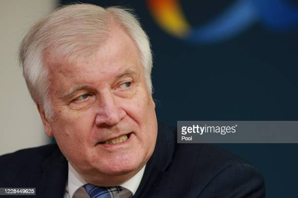 German Interior Minister Horst Seehofer speaks with Vice President of the EU Commission Margaritis Schinas during a video link press conference at...