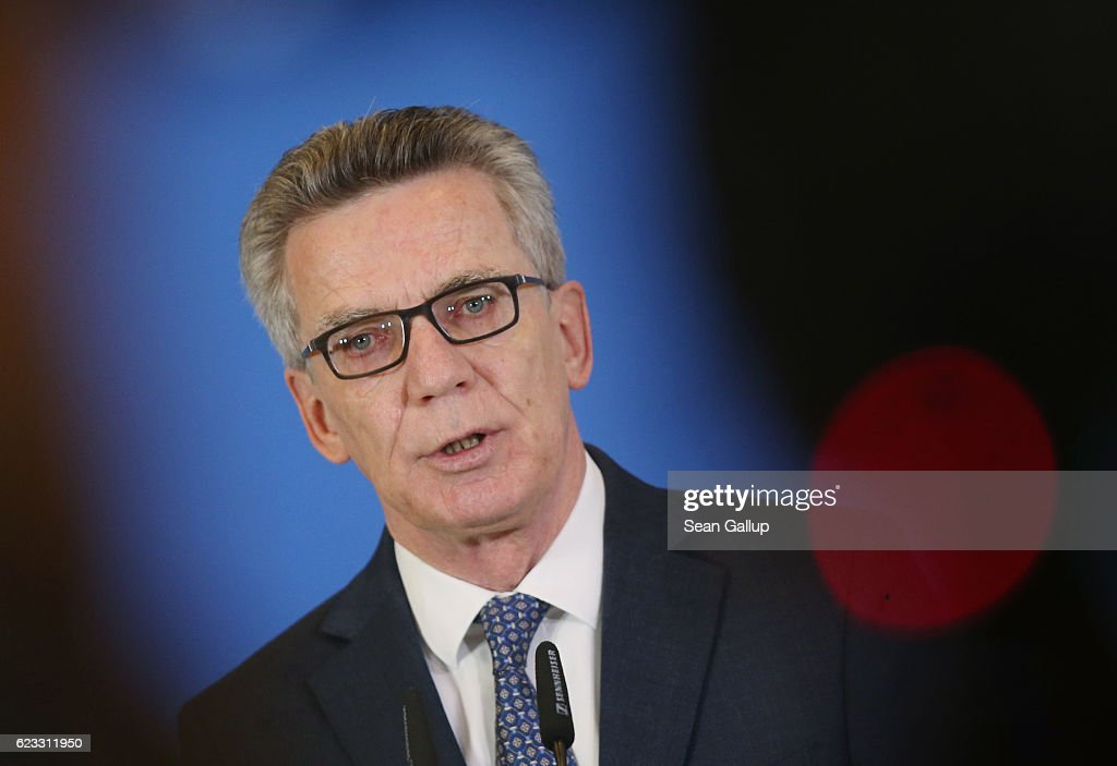 German Interior Minister Thoma de Maiziere speaks to the media to announce that authorities launched 200 raids against Islamists across Germany today on November 15, 2016 in Berlin, Germany. Authorities are targeting the Salafist group 'Die Wahre Religion' ('The real religion'), known for distributing korans in public places but whom authorities suspect of also collecting money and otherwise supporting jihadists.
