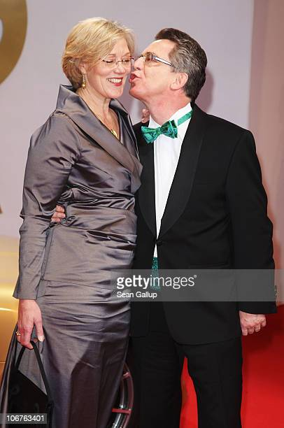 German Interior Minister Thomas de Maiziere and his wife Martina arrive for the Bambi 2010 Award at Filmpark Babelsberg on November 11 2010 in...