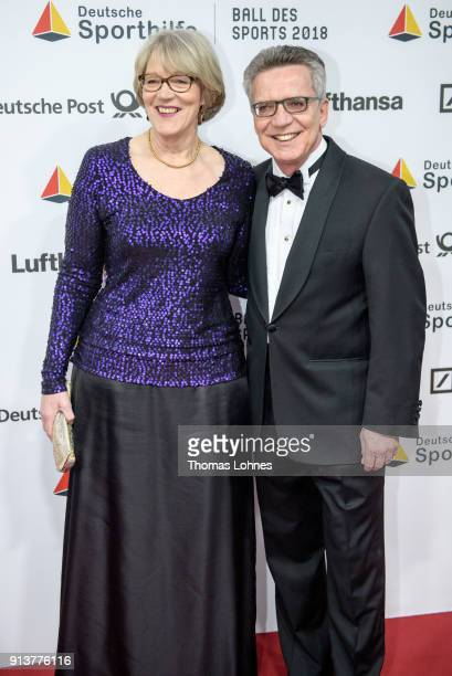 German Interior Minister Thomas de Maiziere and his wife Martina attend the the German Sports Gala on February 3, 2018 in Wiesbaden, Germany.