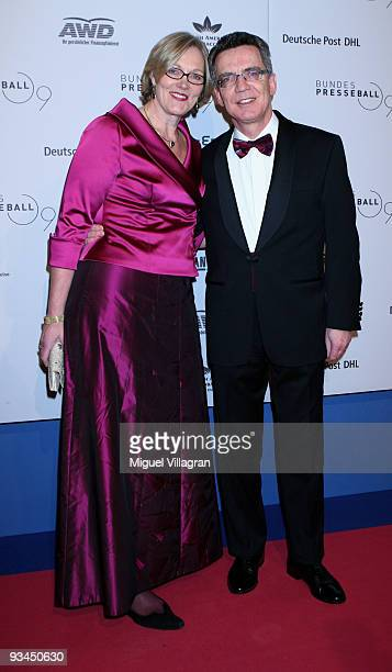German Interior Minister Thomas de Maiziere and his wife Martina attend the annual press ball 'Bundespresseball' at the Intercontinental Hotel in...