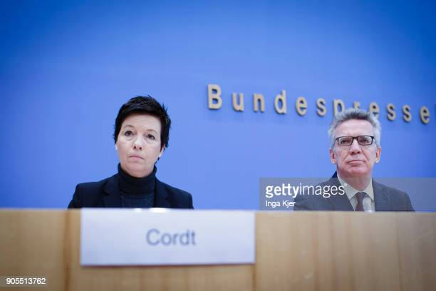 German Interior Minister Thomas de Maiziere and Jutta Cordt head of Federal Agency of Migration and Refugees join the federal press conference on...