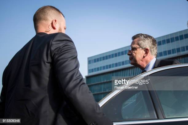 German Interior Minister Thomas de Maiziere arrives at the party headquarter of the CDU during the coalition negotiations on February 07 2018 in...