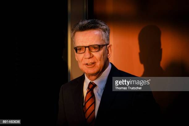German Interior Minister Thomas de Maiziere arrives for the weekly cabinet meeting at the chancellery on December 13 2017 in Berlin Germany