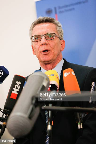 German Interior Minister Thomas de Maiziere attends a press statement on topic 'Asylum and new safe countries of origin' after a panel discussion on...