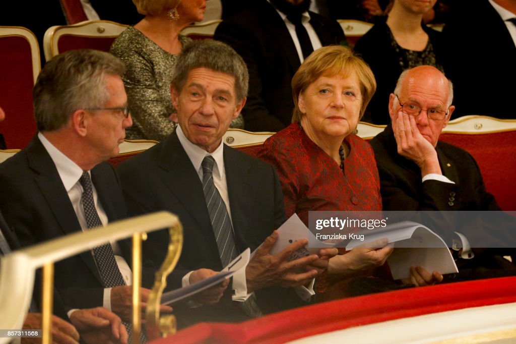 German Interior Minister Thomas de Maiziere, German Chancellor Angela Merkel, her husband Joachim Sauer (L) and politician Norbert Lammert attend the Re-Opening of the Staatsoper Unter den Linden (State Opera Berlin) on October 3, 2017 in Berlin, Germany.